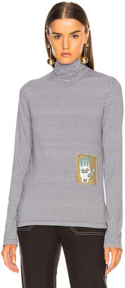 Chloé Houndstooth Print Superfine Jersey Turtleneck Top