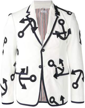 Thom Browne Embroidered Anchor Corduroy Sport Coat
