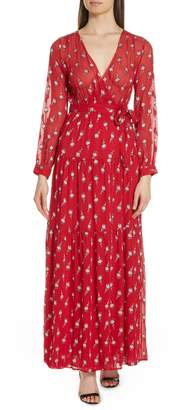 BA&SH Madona Floral Surplice Silk Blend Chiffon Maxi Dress
