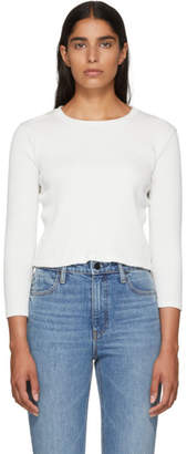 Amo White Cropped Rib Long Sleeve T-Shirt