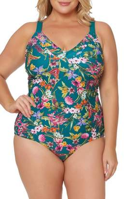 Jessica Simpson Floral Print Tie Back One-Piece Swimsuit