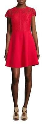 Dorothy Perkins Cap-Sleeve Lace Skater Dress