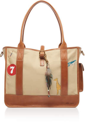 Nick Fouquet Hand-Painted Leather and Canvas Tote