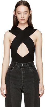 Balmain Black Rib Knit Criss-Cross Bodysuit $1,810 thestylecure.com