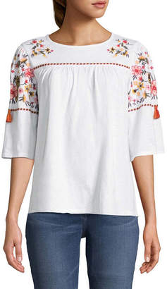 ST. JOHN'S BAY Elbow Sleeve Crew Neck Embroidered Tee - Tall