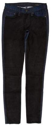 Rag & Bone Leather-Accented Low-Rise Jeans