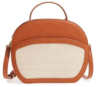 Sole Society Woven Panel Oval Canteen Faux Leather Satchel