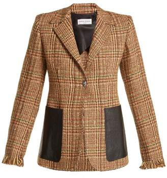 Sonia Rykiel Leather Pocket Wool Blend Tweed Blazer - Womens - Brown Multi
