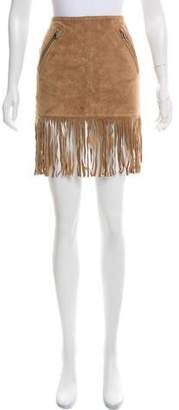 Barbara Bui Suede Fringe Skirt w/ Tags