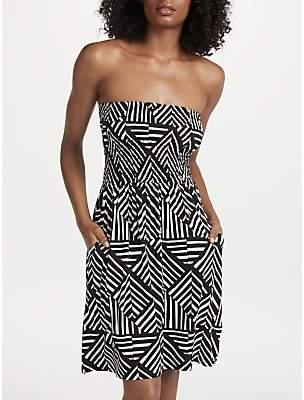 de63bcb083c7c John Lewis & Partners Diamond Geo Print Bandeau Jersey Dress, Black/Multi