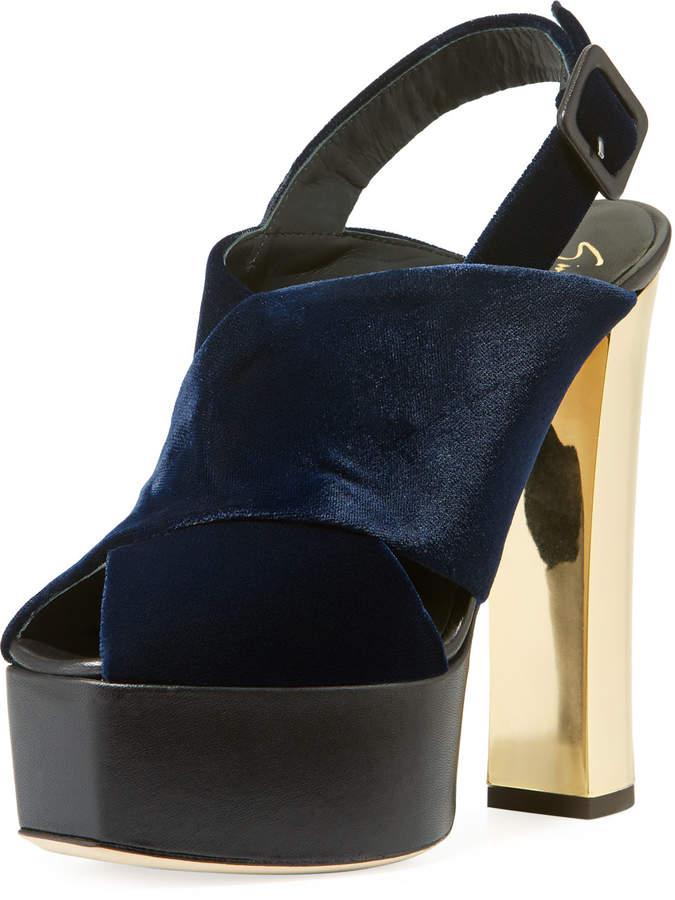 Giuseppe Zanotti Velvet High Platform Sandals