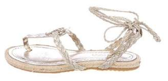Jimmy Choo Leather Snakeskin-Accented Sandals