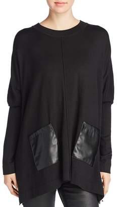 Donna Karan Faux-Leather Pocket Tunic