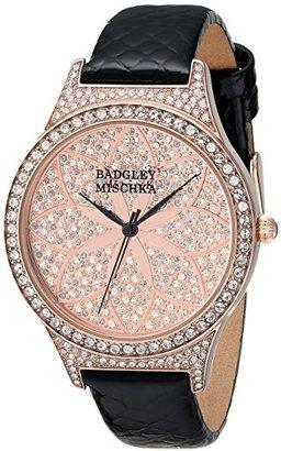 Badgley Mischka Women 's BA / 1348pkbkスワロフスキーCrystal Accented BlackレザーStrap Watch