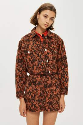 Topshop Womens Petite Snake Print Denim Jacket - Rust