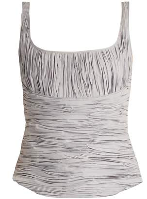 Brock Collection Tala ruched cotton and silk-blend tank top