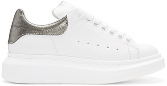 Alexander McQueen White & Gunmetal Leather Sneakers $575 thestylecure.com