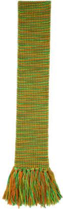Acne Studios Green and Orange Tassel Scarf