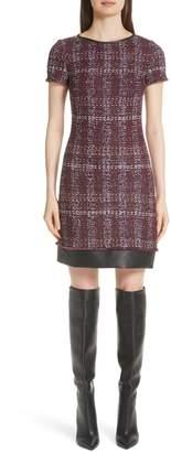St. John Flecked Textures Plaid Knit Dress