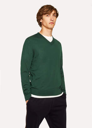 Paul Smith Men's Dark Green V-Neck Merino Wool Sweater