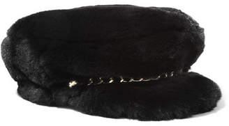 Eugenia Kim Marina Chain-embellished Faux Fur Cap - Black