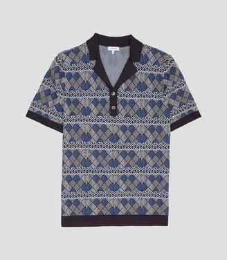 08dc5547de Reiss Prestwick - Geometric Patterned Cuban Collar Polo in Blue