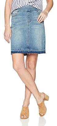 Tribal Women's Pull On Jean Skirt with Raw Edge