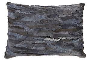 Arabella Rani Venezia Mink Fur Pillow-Gray