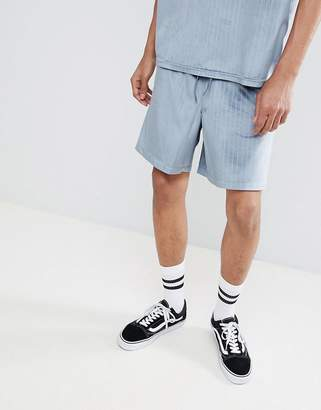 Asos DESIGN two-piece slim shorts in velour pinstripe with elasticated waistband