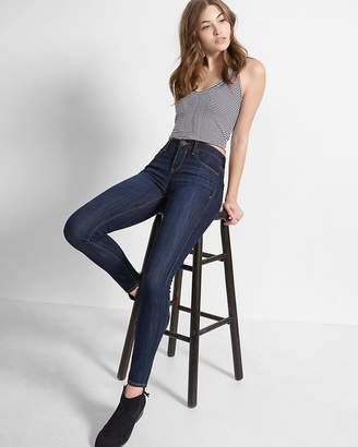 Express Petite Mid Rise Dark Wash Stretch Jean Leggings