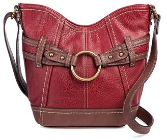 Bolo Women's Faux Leather Crossbody Handbag with Back/Interior Compartments and Zipper Closure - Red/Walnut $29.99 thestylecure.com