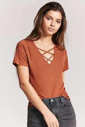 Forever 21 V-Neck Crisscross Top