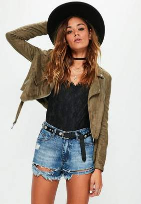 Missguided Faux Suede Long Sleeve Biker Jacket Khaki