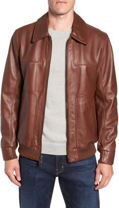 Andrew Marc Vaughn Shirt Collar Leather Bomber Jacket