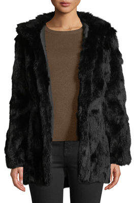 Adrienne Landau Leopard-Print Hooded Rabbit Fur Coat