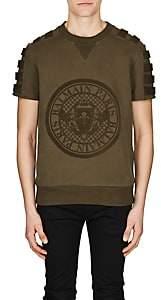 Balmain Men's Flocked-Logo Cotton Sweatshirt-Olive