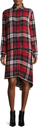 Public School Ilha Plaid Button-Front Drop-Waist Shirtdress