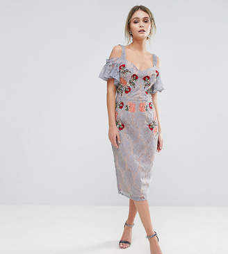 Hope and Ivy Hope & Ivy Embroidered Lace Midi Dress With Contrast Straps And Tie Cold Shoulder
