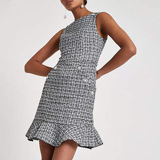 River Island Black check boucle peplum hem dress