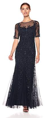 Adrianna Papell Women's Elbow Sleeve Beaded Long Dress, 2