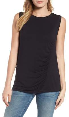 Caslon Off-Duty Shirred Sleeveless Tee