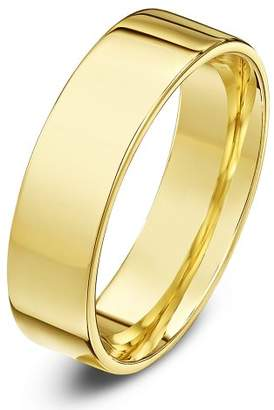 Theia Unisex Heavy Flat Court Shape Polished 9 ct Yellow Gold 4 mm Wedding Ring - Size T