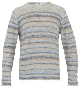 Inis Meáin Inis Meain - Striped Melange Linen Sweater - Mens - Blue Multi