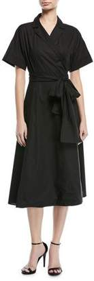 Escada Short-Sleeve Cotton Poplin Wrap Dress