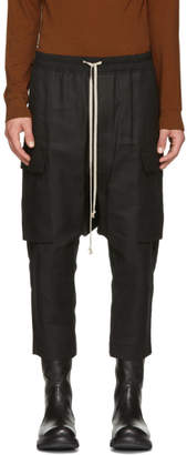 Rick Owens Black Canvas Cropped Cargo Pants