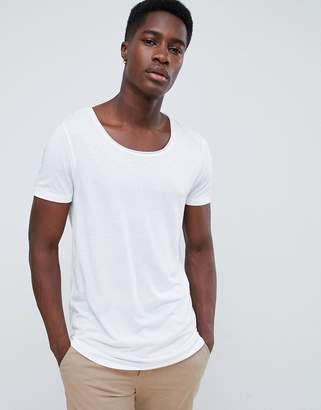 f87423be Asos Design DESIGN longline t-shirt with raw scoop neck and curve hem in  linen