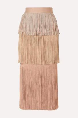 Herve Leger Metallic Fringed Bandage Midi Skirt - Blush