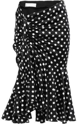 Caroline Constas Liza Knotted Polka-dot Silk-blend Satin Midi Skirt