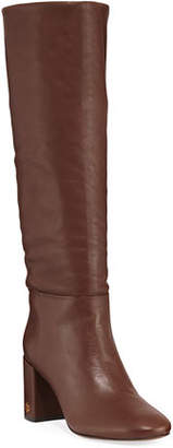 Tory Burch Brooke Slouchy Leather Block-Heel Knee Boots