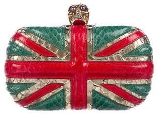 Alexander McQueen Limited Edition Snakeskin Britannia Skull Clutch